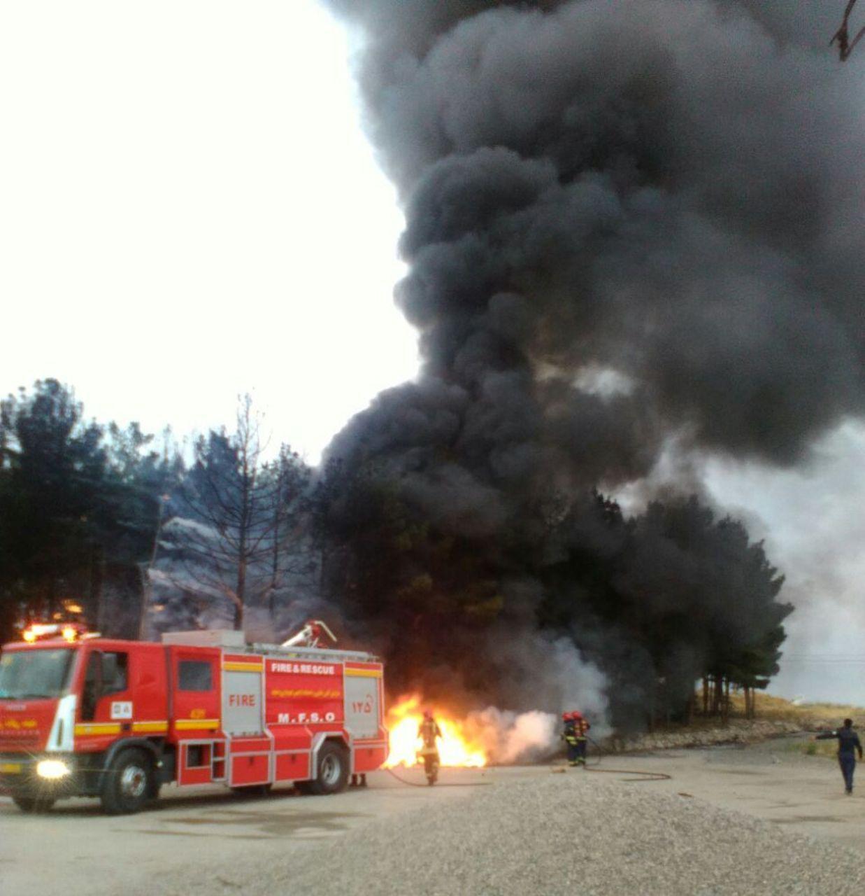 مهار آتش سوزی در کوهستان پارک مشهد