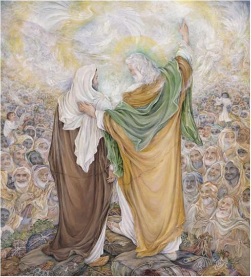 تابلوی نقاشی سیره عملی پیامبر اکرم صلّی الله علیه و آله و سلّم در حرم رضوی