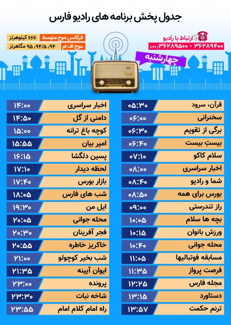 جدول پخش رادیو فارس چهارشنبه دهم بهمن