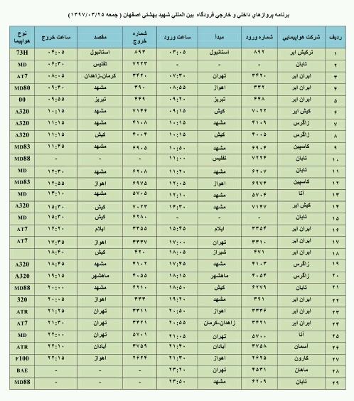 فهرست پروازهای فرودگاه اصفهان در روز عید فطر