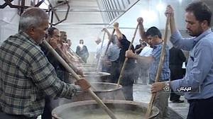 طبخ بیش از 2 تن آش حلیم نذری در شهرستان گلپایگان