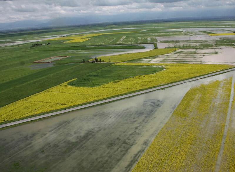 خسارت سیل به مزارع شهرستان رستم