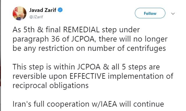 توئیت ظریف درباره آخرین  گام  برجامی ایران