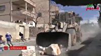 یورش وحشیانه صهیونیستها با بولدوزر به فلسطینی ها+فیلم