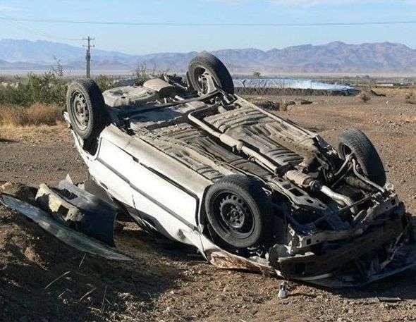 واژگونی سواری تیبا در محور کاشان- اردستان