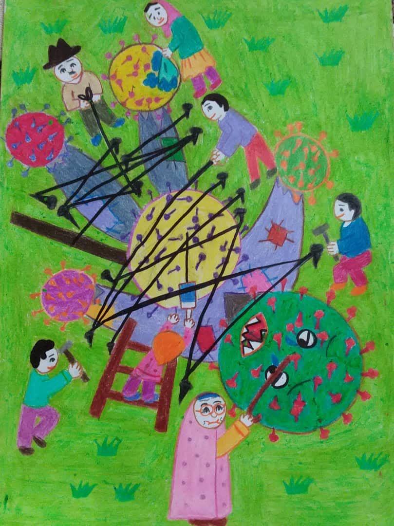 نقاشی کرونا و مدرسه