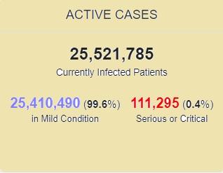 بستری بیش از 25 میلیون بیمار کرونایی در جهان