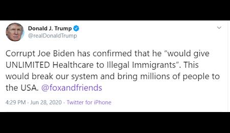 انتقاد ترامپ از بایدن درباره سیاست های خدمات درمانی برای مهاجران