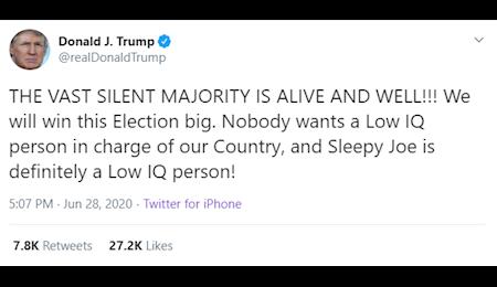 ترامپ:جو بایدن ضریب هوشی پایینی دارد