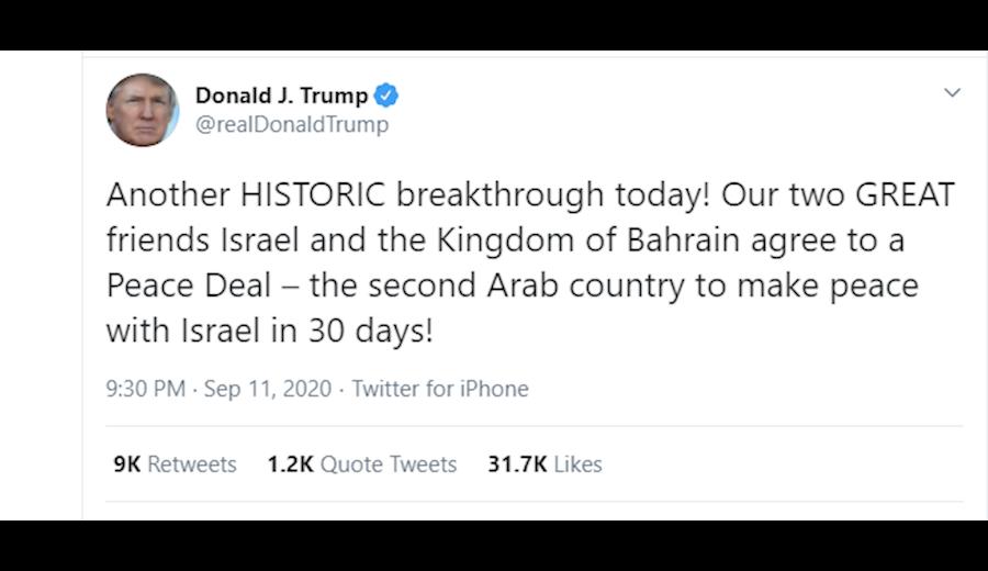 ترامپ از توافق رژیم بحرین و رژیم صهیونیستی خبر داد