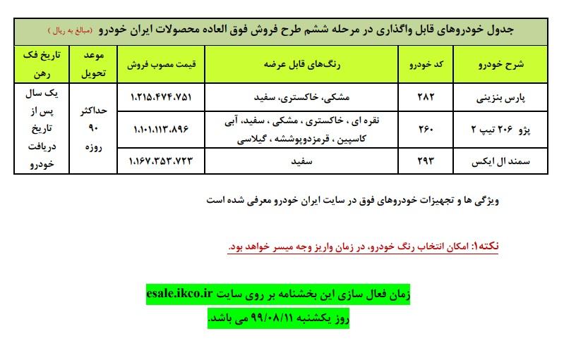 عرضه سه محصول در فروش فوق العاده ایران خودرو
