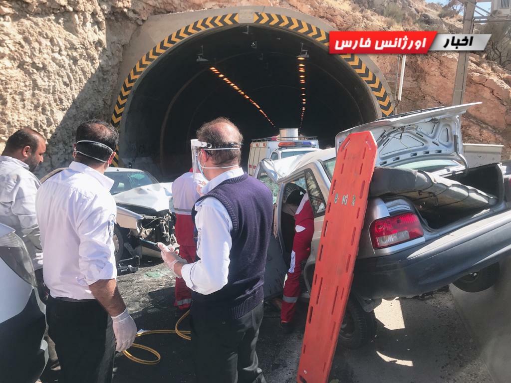 تصادف مرگبار پراید و پژو درمحور کازرون به شیراز