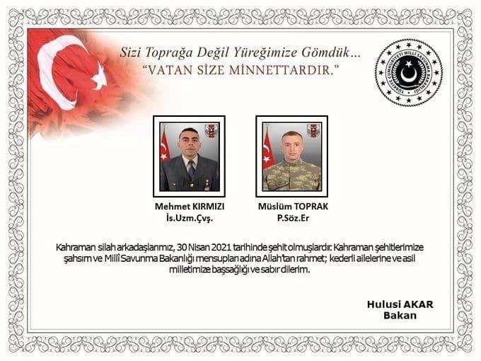کشته شدن دو نظامی ترکیه در عراق
