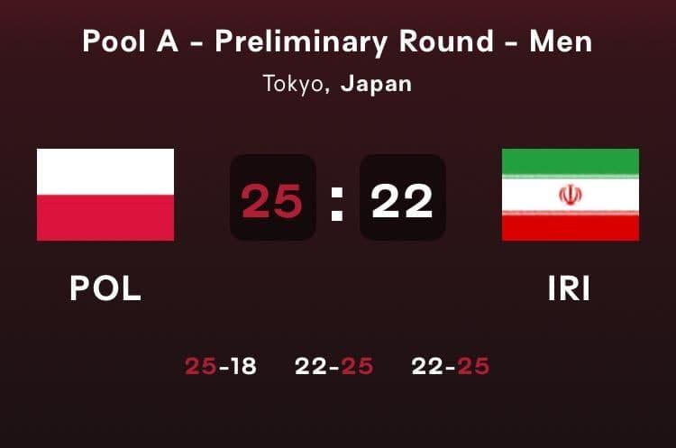 رقابت ملی پوشان ایران و لهستان در والیبال المپیک توکیو ۲۰۲۰