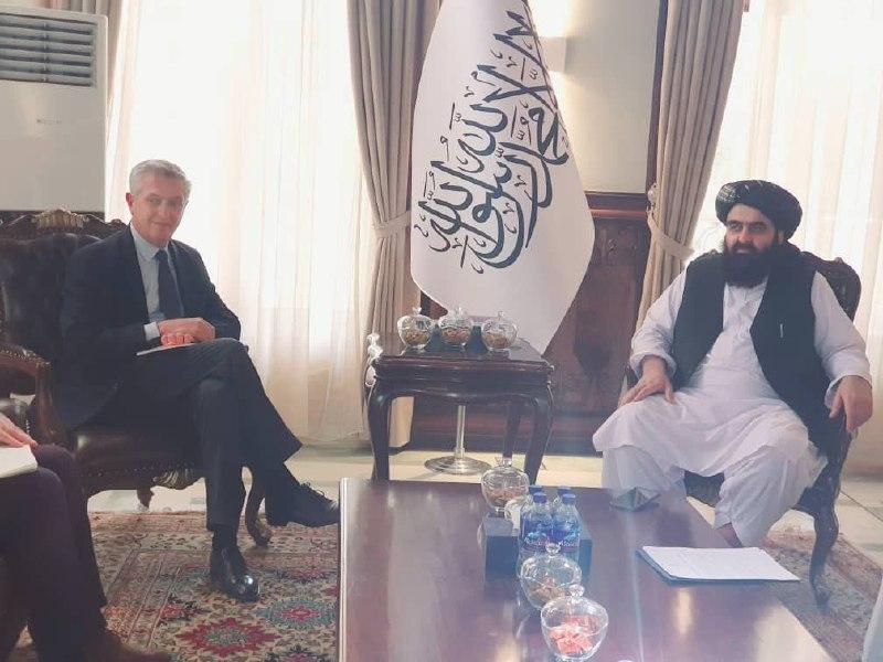 دیدار فیلیپو گراندی با سرپرست وزارت امور خارجه طالبان