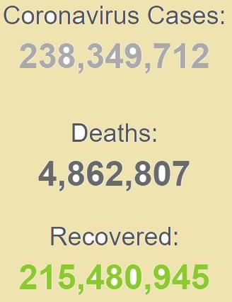 ابتلای بیش از ۲۳۸ میلیون نفر به کرونا در جهان