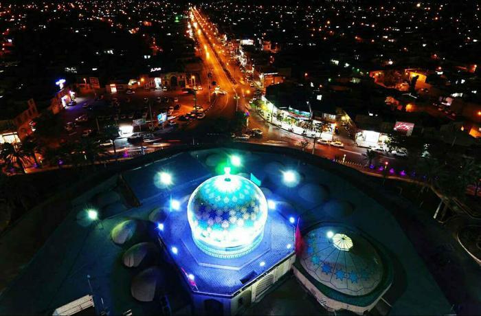تصویر هوایی از آستان مقدس امامزاده عبدالله بافق  (عکس ابوالفضل ندافیان)