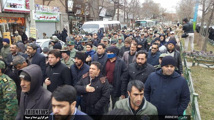 تشییع پیکر مطهر شهید الماس بیرامی دولت سرائی در اردبیل