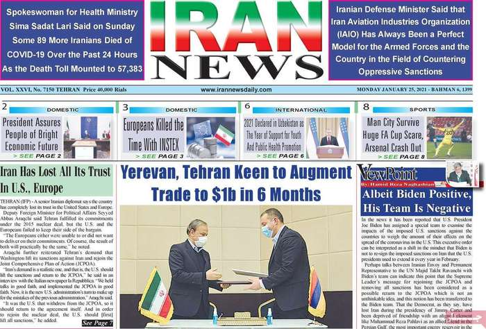 Yerevan, tehran keen to augment trade $1b in 6 mounths